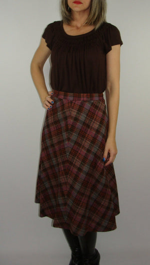 VINTAGE 1970's WOOL SKIRT plaid check bias lined xs S (E8)