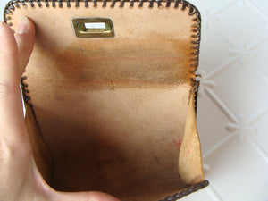 MEXICAN TOOLED LEATHER envelope clutch vintage bag wallet (G10)