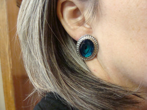 teal blue green BUTLER VINTAGE EARRINGS pierced shell silvertone (C1)