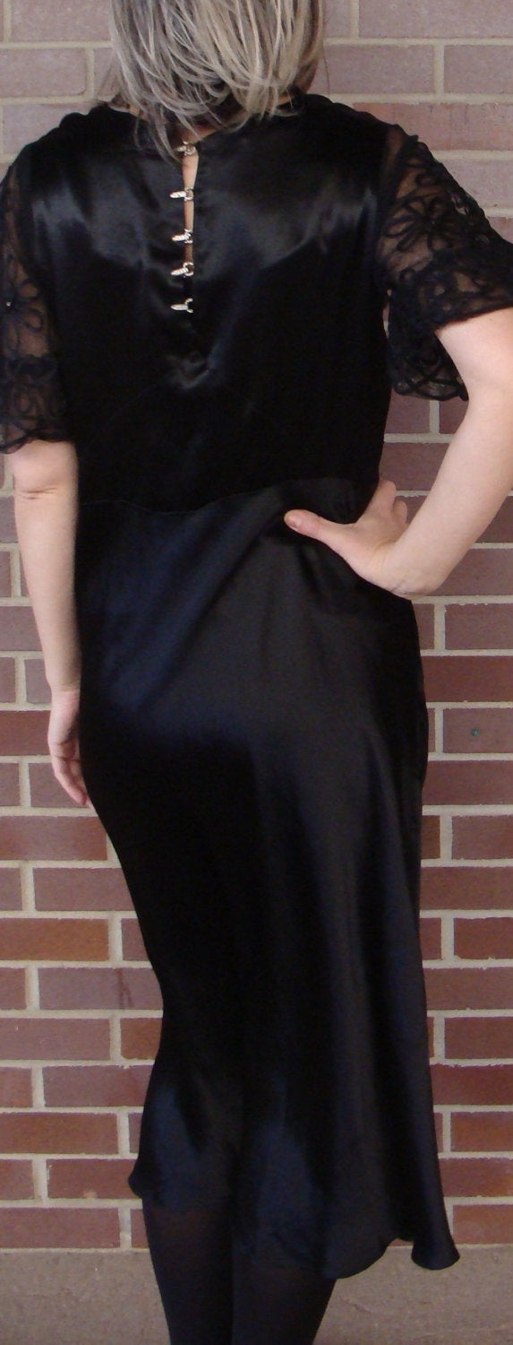 20's 30's BLACK SATIN bias-cut DRESS with rhinestones downton abbey M (A7)