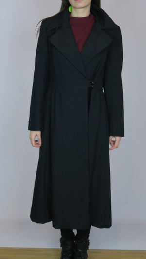 exc BLACK DRESS COAT quality youth craft wool weave ladycoat S M (E2)