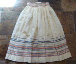 "VINTAGE EMBROIDERED SKIRT full mexico central america 24"" waist xs (F3)"