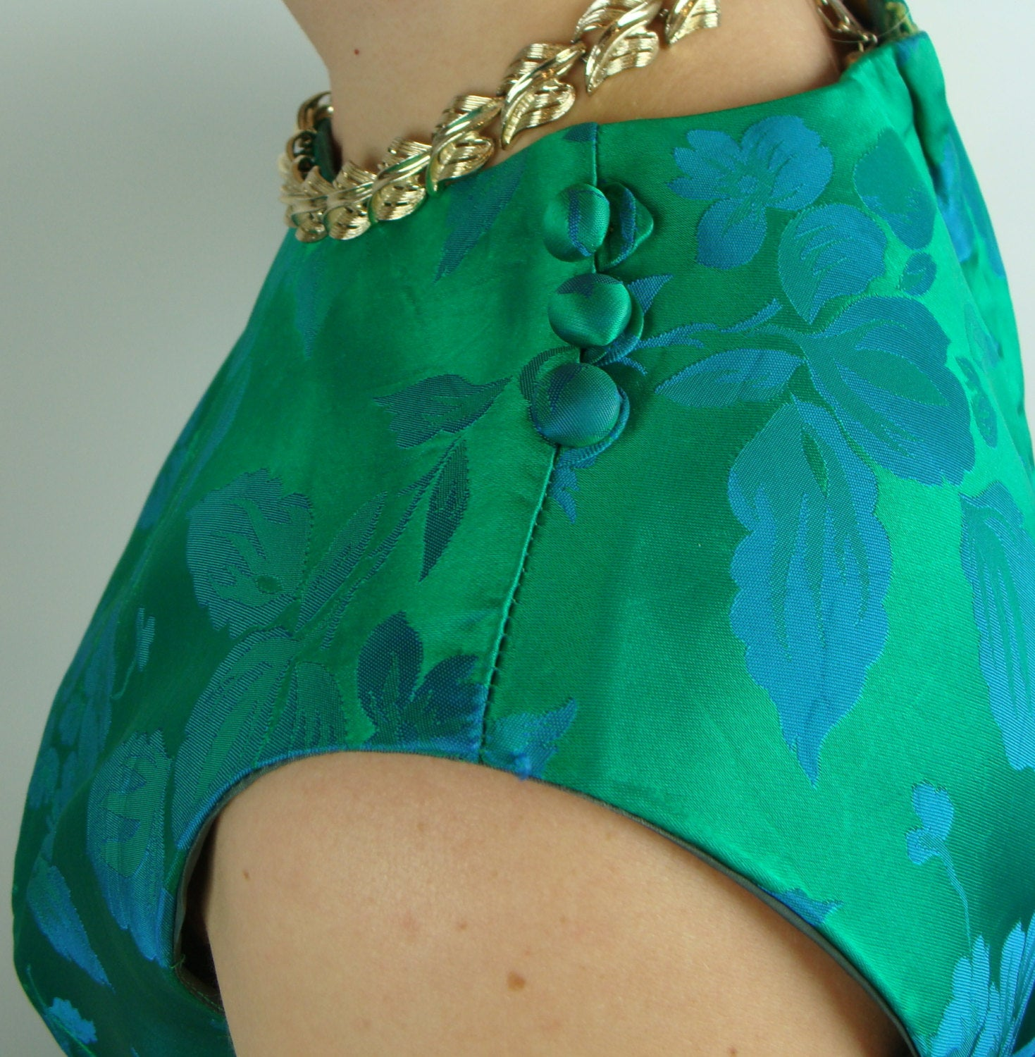 GREEN BLUE satin wiggle DRESS 1960's 60's jacquard S M (G10)