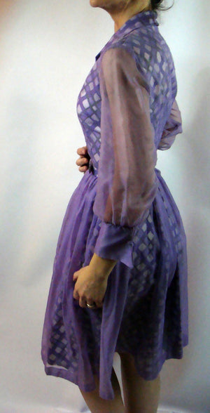 PURPLE CHIFFON OVERLAY 1960's dress cocktail party xs (B2)