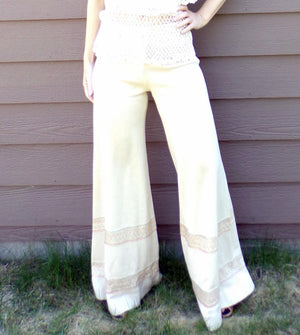 italian vintage KNIT PALAZZO PANTS wide leg arbe imports sweater S (G5)