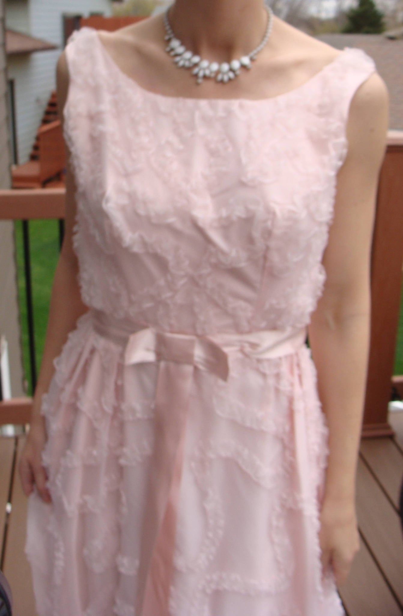 light pink 1950's 1960's PROM PARTY DRESS fred piccione gown 36/26/full (A2)