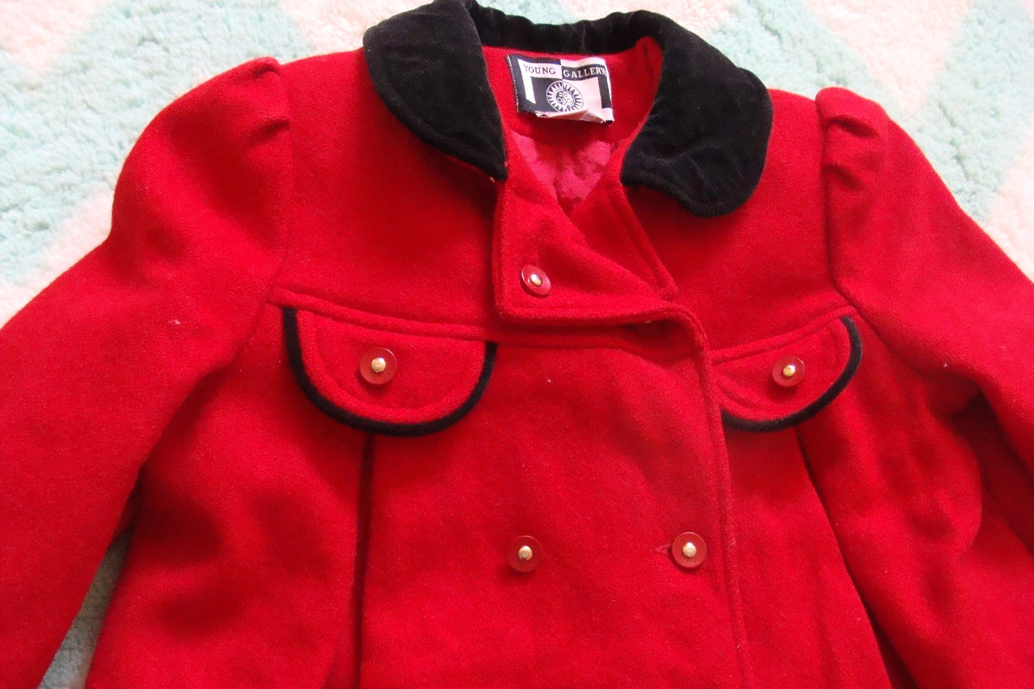CLASSIC little girls RED wool COAT swing Peter Pan collar 4 5