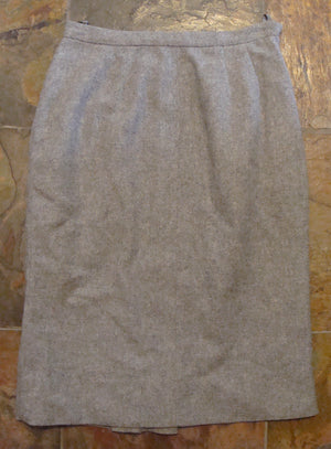 "brentshire HEATHERED GRAY pencil skirt WOOL xs 24"" waist 60's (G2)"