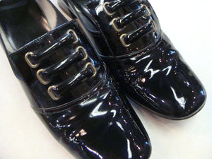 SHINY BLACK mod PUMPS heels shoes vintage 1960's 60's 7.5 (K2)