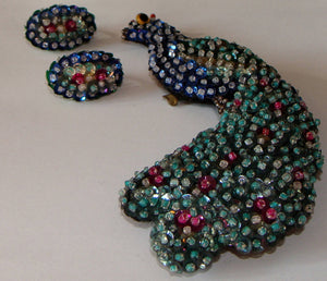 unusual SEQUIN PEACOCK and EARRINGS set huge brooch pin vintage (C4)