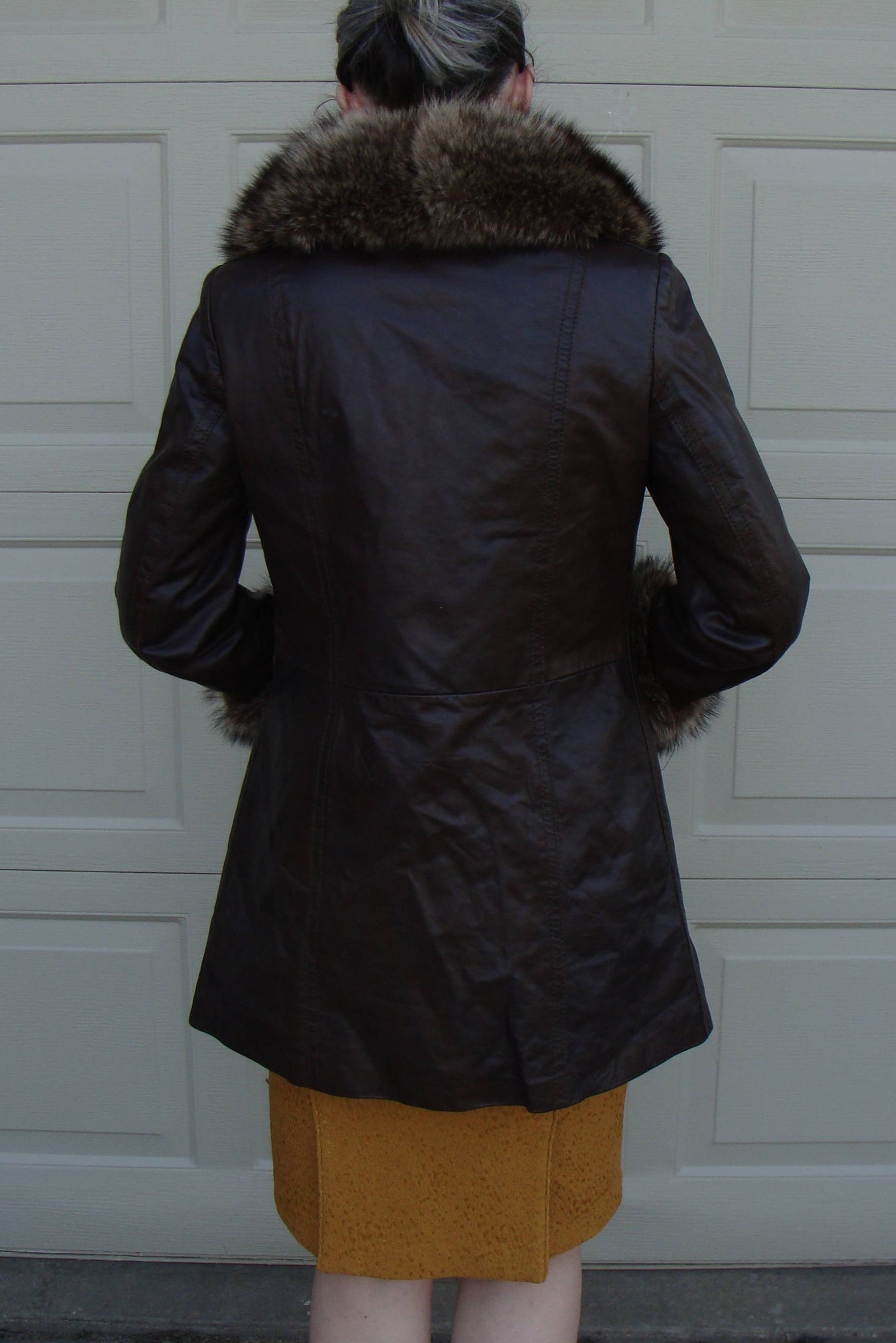 BROWN LEATHER COAT with fur collar and cuffs metal closures