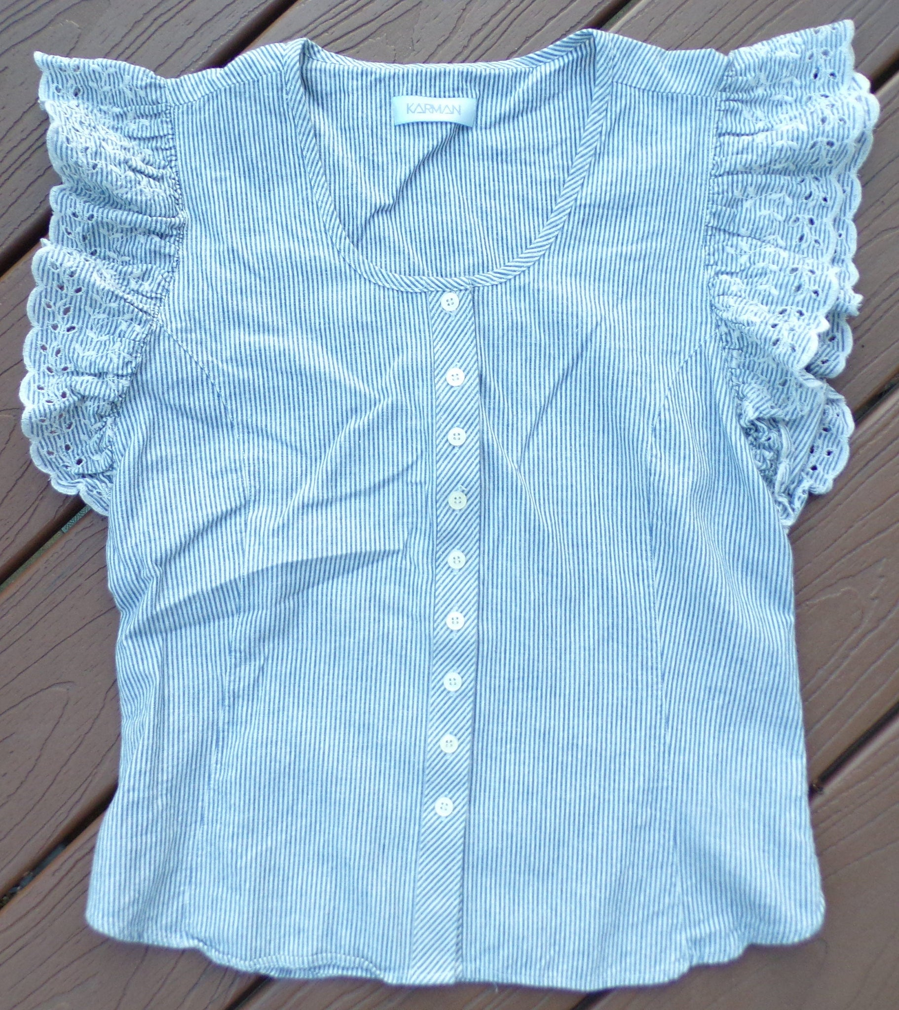 karman CHAMBRAY STRIPED COTTON eyelet sleeve vintage blouse S (G5)
