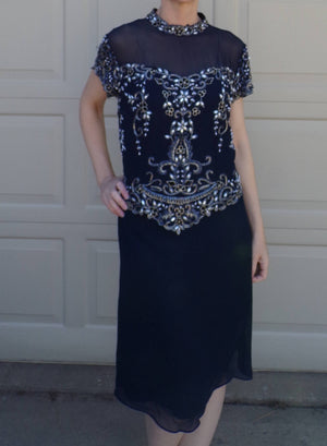navy 1990's does 1920's BEADED COCKTAIL DRESS vintage illusion shoulders L xl (H3)