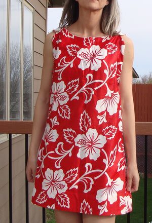red and white SATEEN HAWAIIAN SHIFT cotton mini dress summer hibiscus S M (A2)