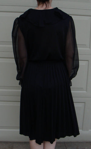 BLACK DRAMATIC SLEEVE 1970's party dress sheer ruffle pleated skirt M L (A1)