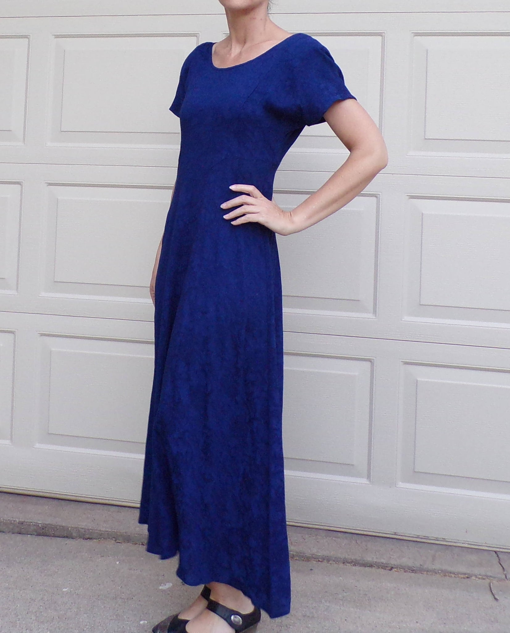 ROYAL BLUE 1990's fit and flare DRESS long modest S 90's (G7)