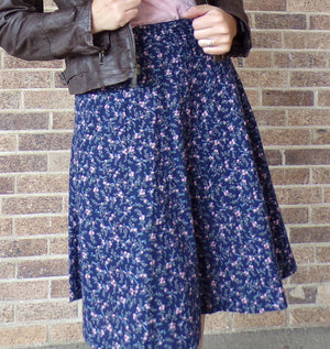 GUNNE SAX vintage CALICO skirt navy blue cotton S (A9)