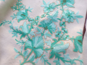 IVORY WOOL SHAWL piano scarf aqua crewel embroidery (G2)