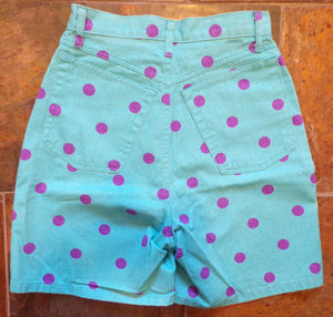 turquoise and purple POLKA DOT SHORTS high waist denim 80's 90's S (H7)