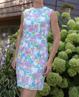 CHEERY FLORAL vintage SHEATH dress 1960's 60's summer xs S (A1)