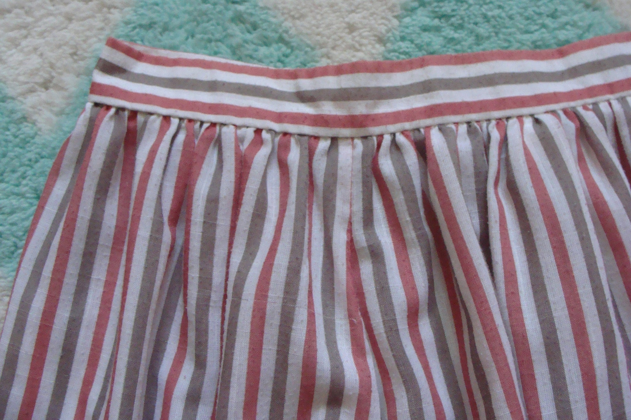 "vintage 80's NORMCORE STRIPED SKIRT main street salmon taupe 25.75"" waist xs (A8)"