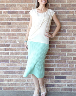 MINT GREEN sweater knit SKIRT vintage 40's 50's S (F2)