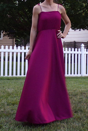 BURGUNDY MAXI DRESS long disco era 1970's 70's M (D8)