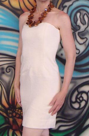 ELEANOR P BRENNER ivory strapless boucle sheath dress S (A6)