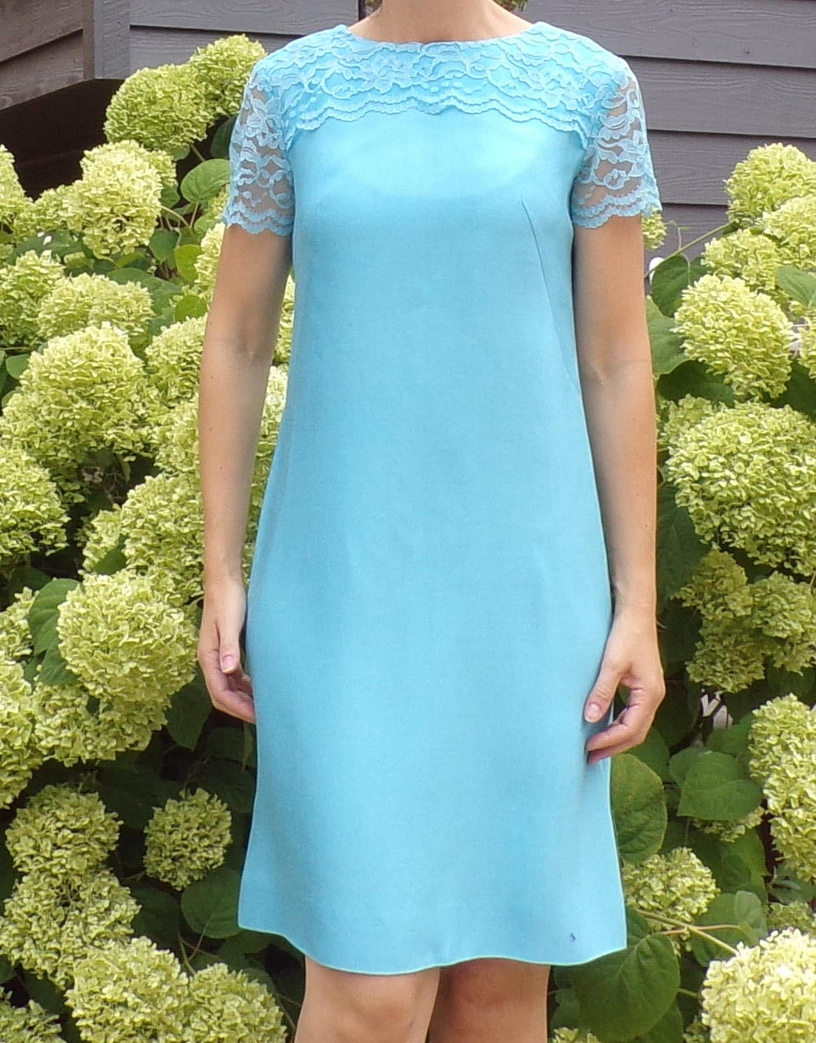 aldens BLUE SHIFT DRESS lace topped mod 1960's 60's S (D10)