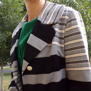 LANSON STRIPED COAT vintage light all weather jacket S M