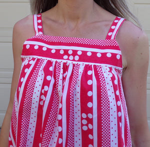 red and white POLKA DOT HOUSEDRESS sun dress retro vintage L (A5)