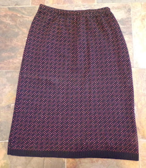 vintage 1980's SWEATER PENCIL SKIRT knit black pink S M (F9)