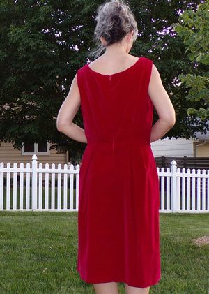 CRANBERRY RED VELVET 1960's 60's sheath dress M 32 waist (D3)