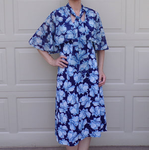 1970's does 1930's DRESS and CAPELET SET blue floral vintage S (B1)
