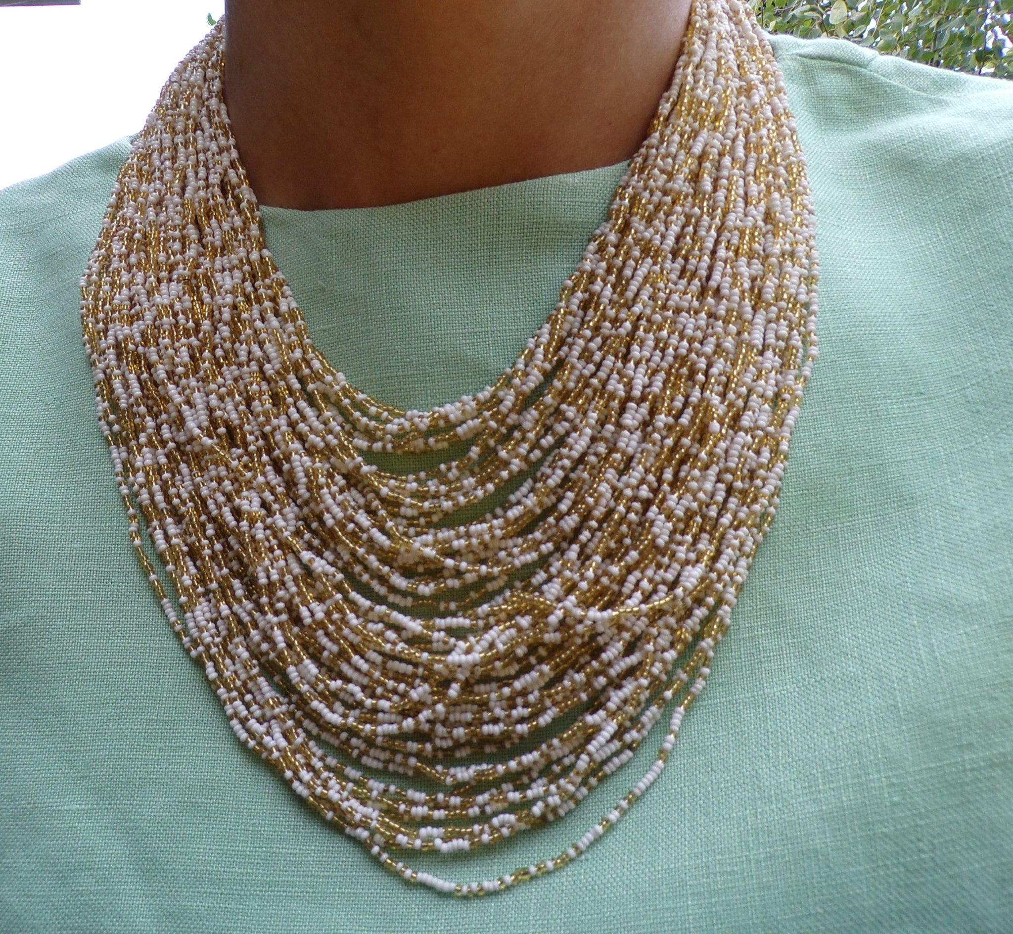 60 strand BEADED STATEMENT NECKLACE 1960's 60's earrings set
