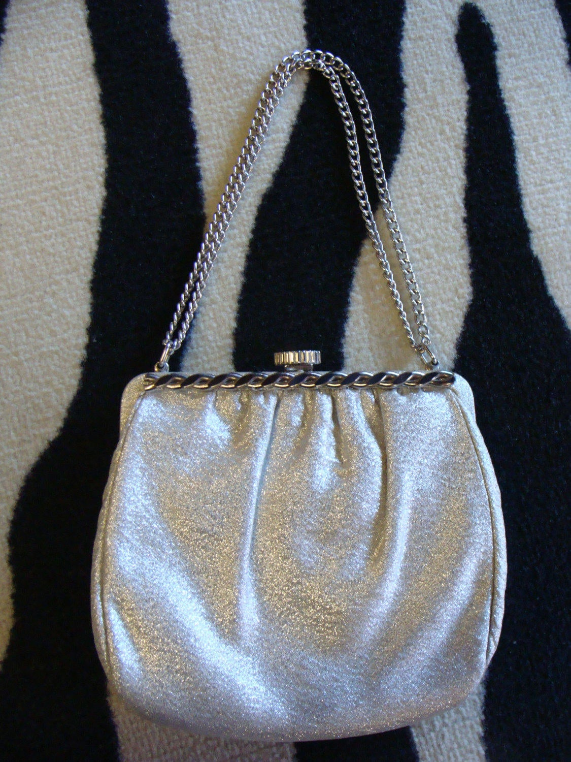 1960's SILVER EVENING BAG purse vintage 60's regency (G2)