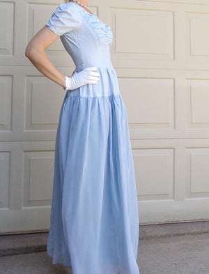 30's 40's LIGHT BLUE GOWN vintage dress princess S (G2)