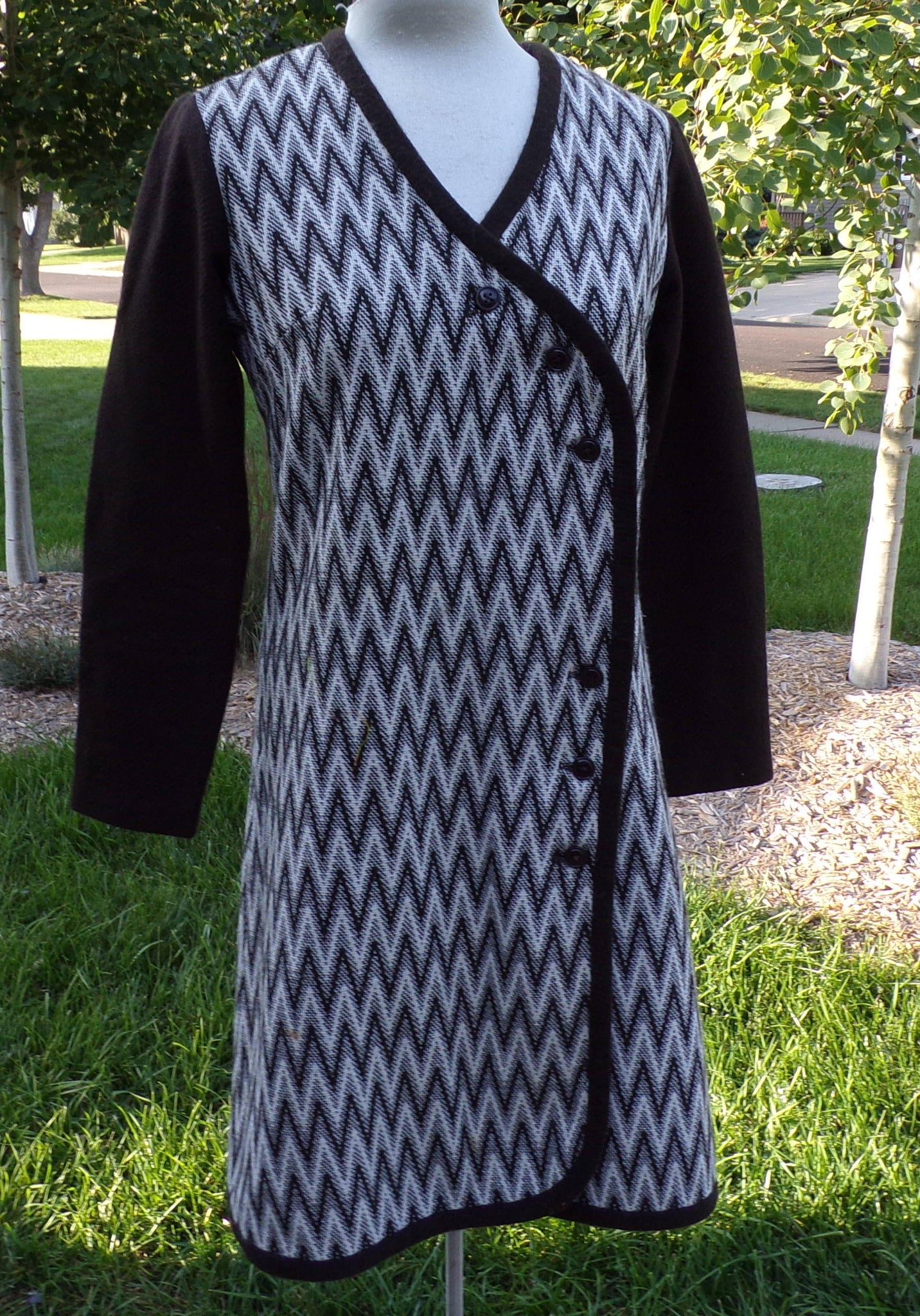 gay gibson MOD ZIG ZAG coatdress coat dress M (D9)