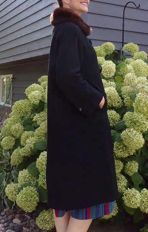 high quality BLACK WOOL COAT goldstein chapman 1960's 60's S M