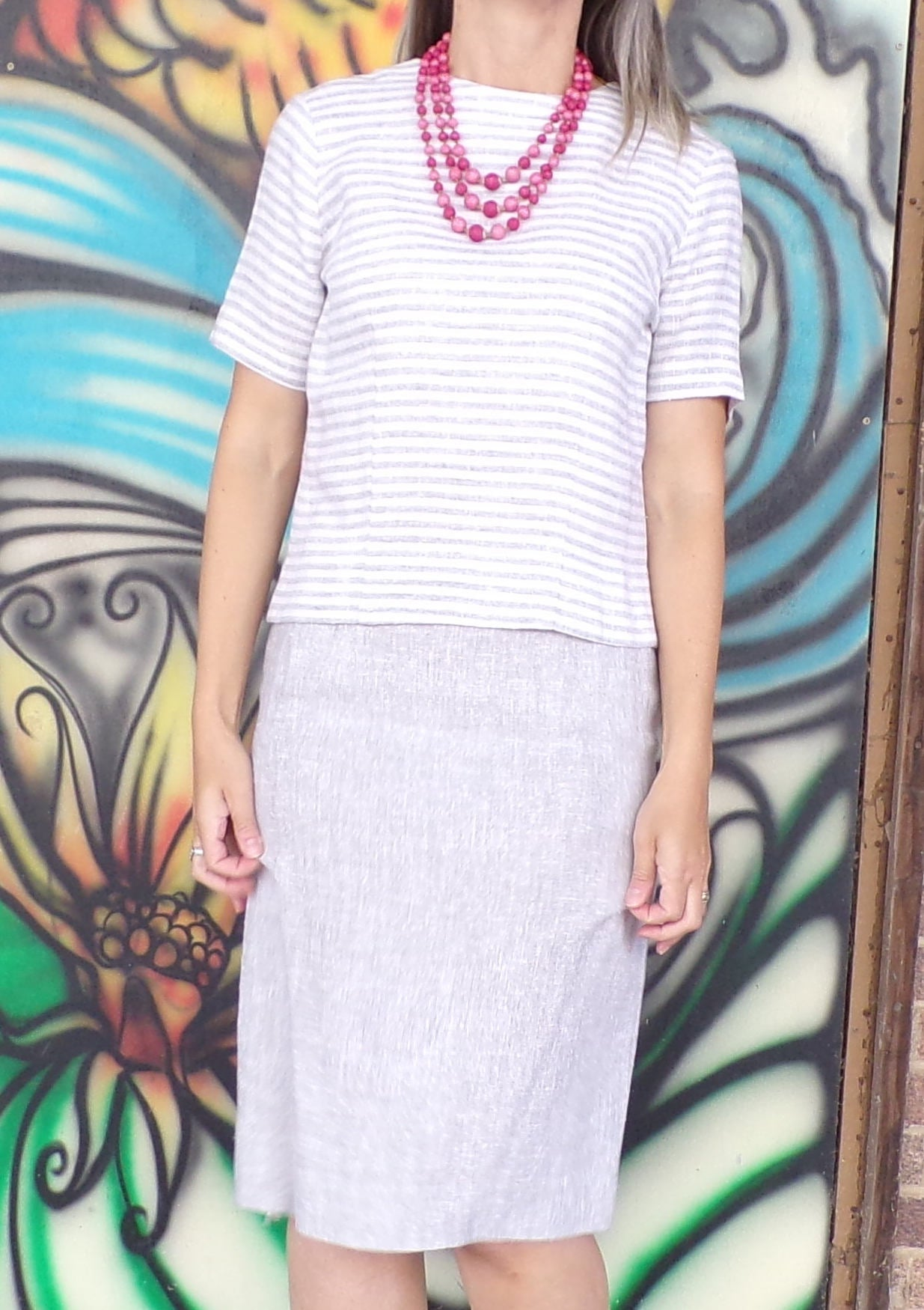 GRAY pencil SKIRT SET striped top linen summer outfit separates S (B2)