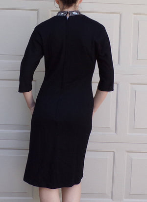 BLACK COCKTAIL DRESS vintage 1960's 60's mandarin collar M (H2)