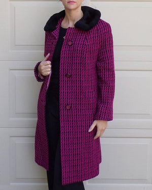 PINK PLAID COAT 1960's 60's wool marlbeck london S