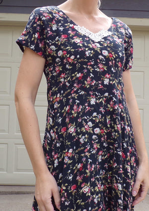 black floral VINTAGE 90's RAYON DRESS long 1990's S (B1)