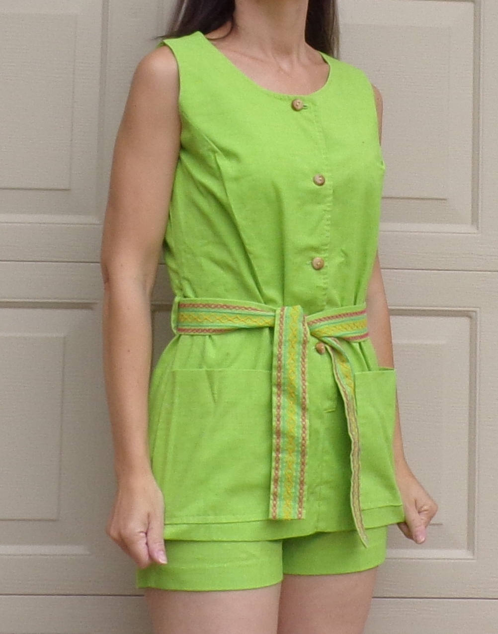 lime green TUNIC SHORTS SET byer 60's 70's xs S (D5)