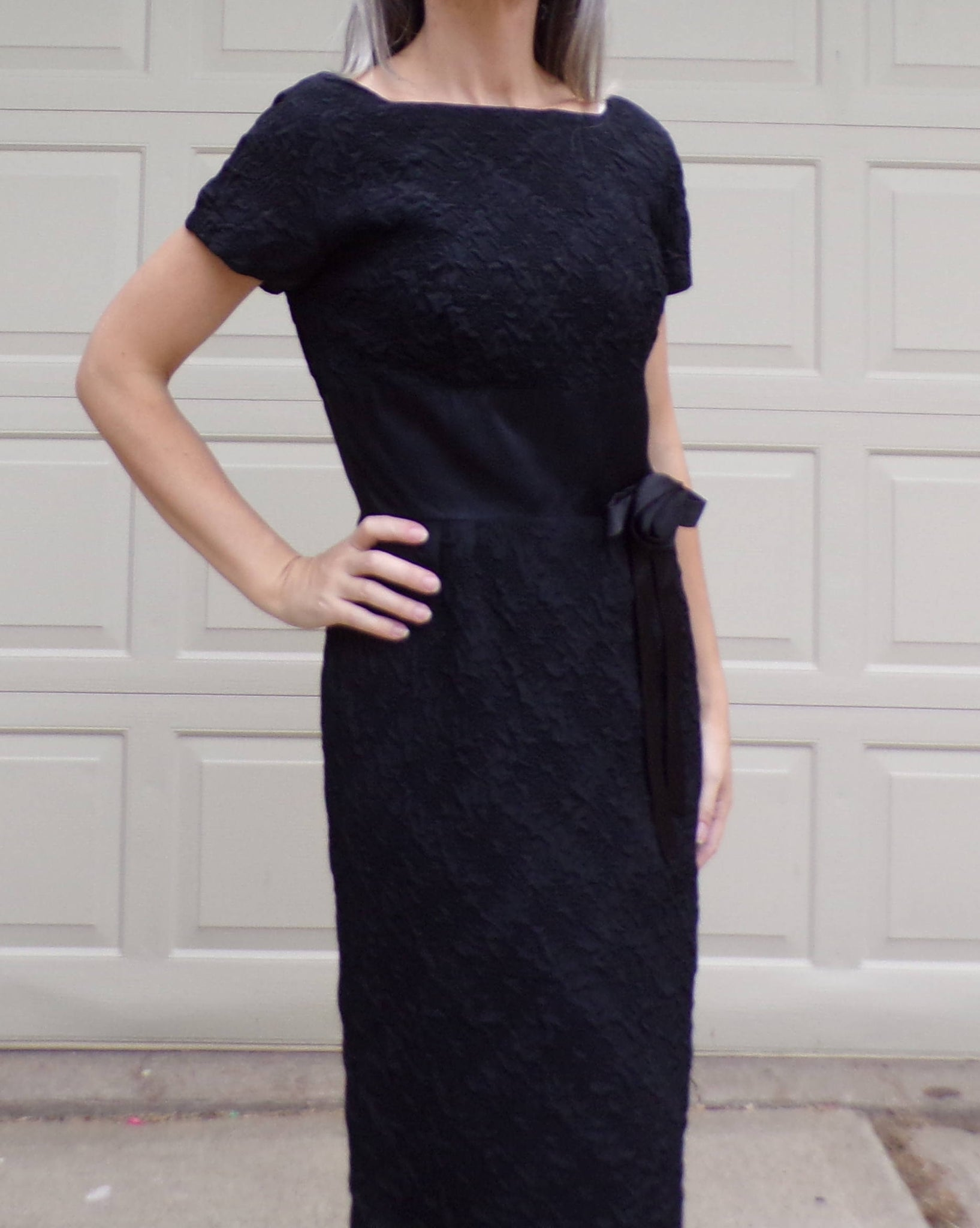 pixie of california BLACK WIGGLE DRESS 50's 60's S M (G6)