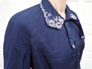 NAVY SILK JACKET beaded collar 1940's 1950's gerrick M (D9)
