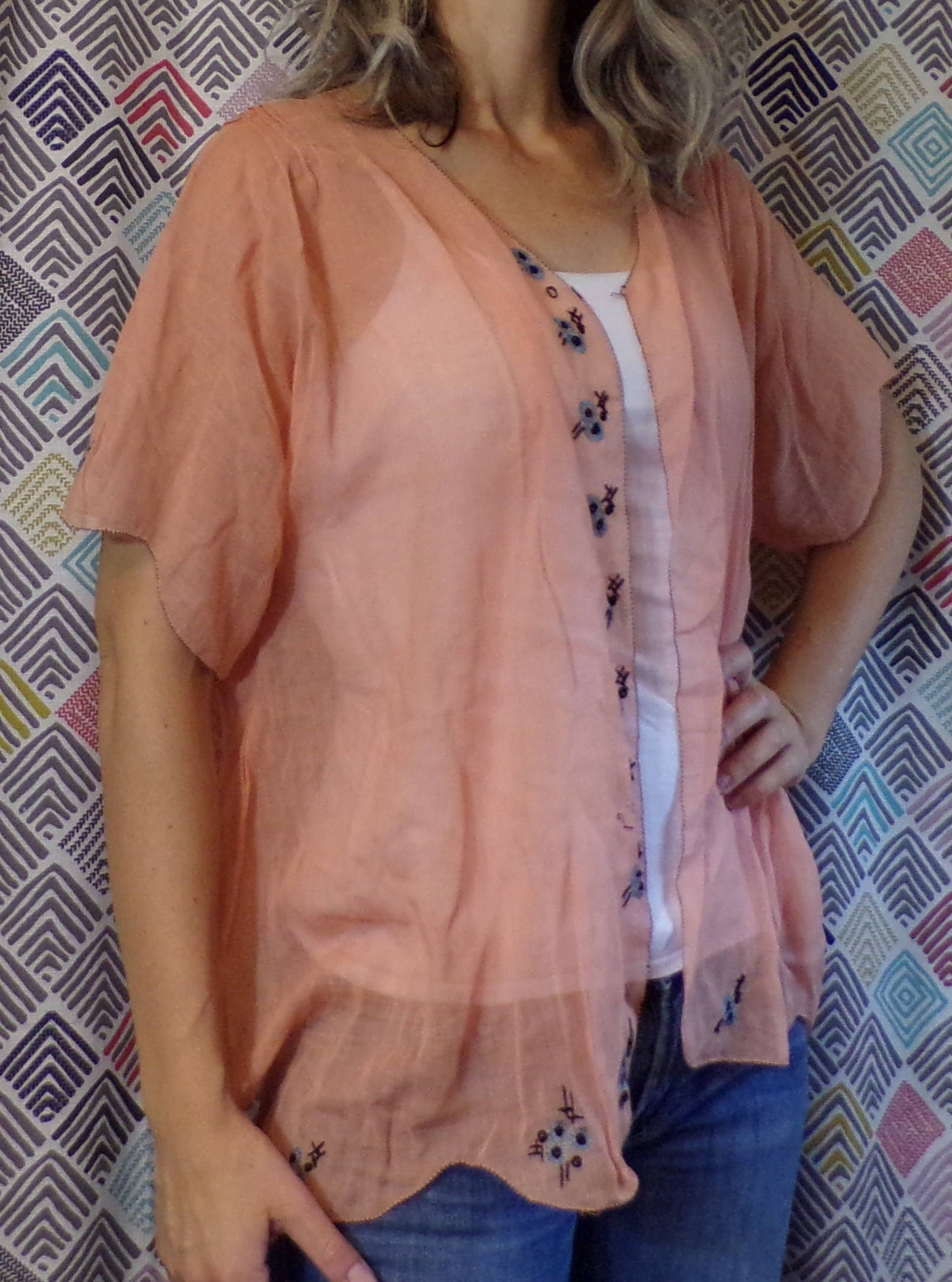 1920's SALMON PINK JACKET pajama bed jacket ? 20's S M (E6)
