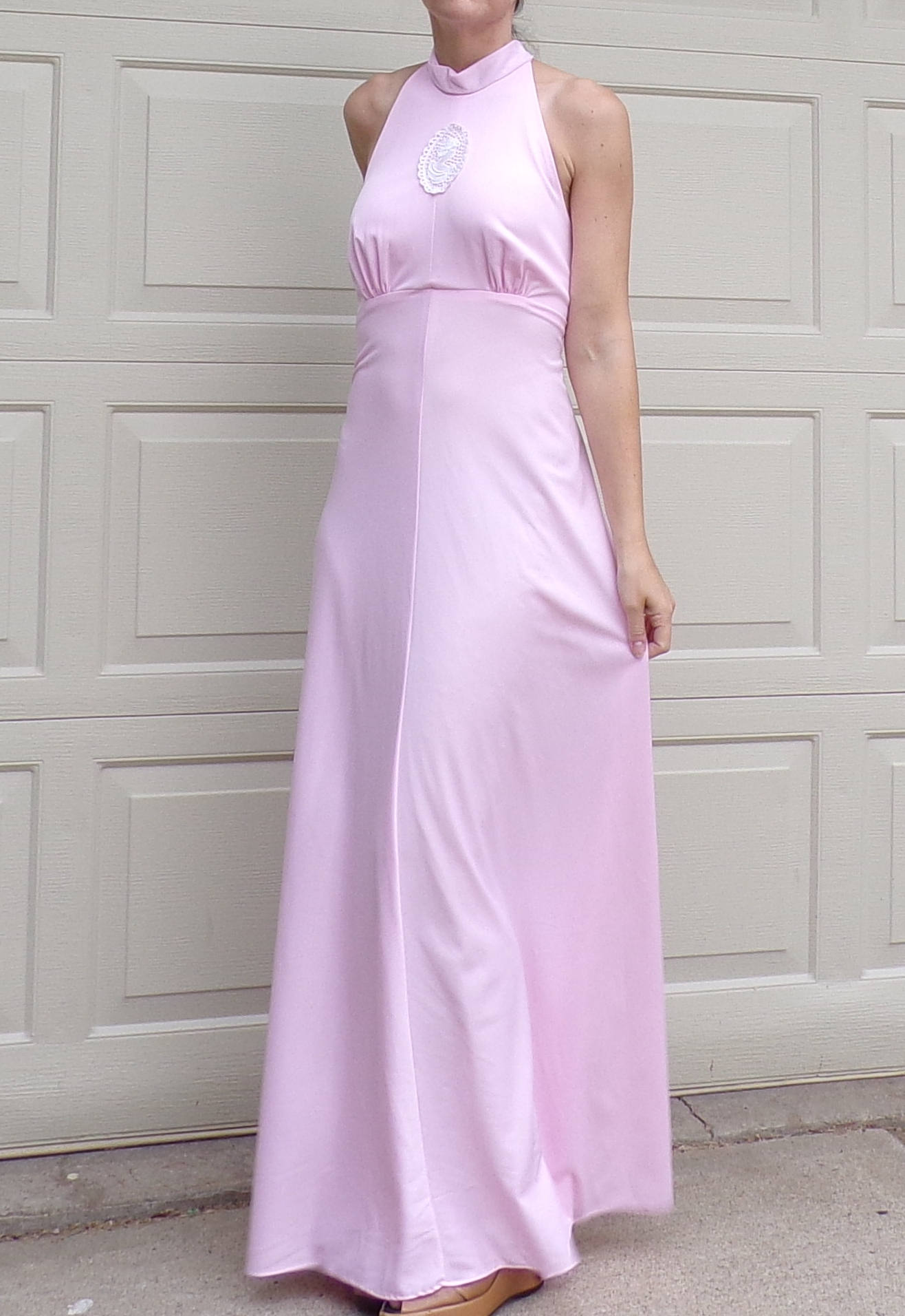 light PINK MAXI DRESS vintage halter sexy back S M (D9)