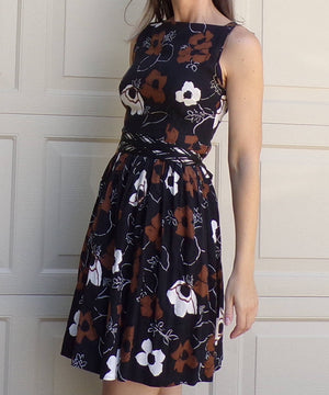 brown and black FLORAL COTTON DRESS summer vintage 50's 60s petite (B1)