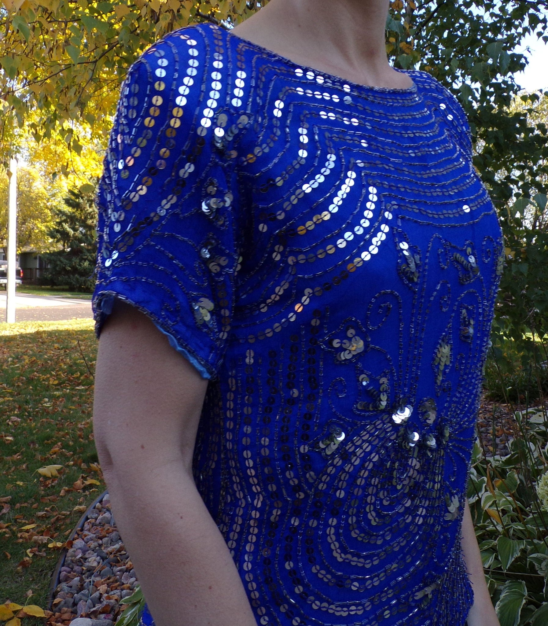 COBALT BLUE BLOUSE 1980s does 1920s deco sequin beaded silk S (H4)